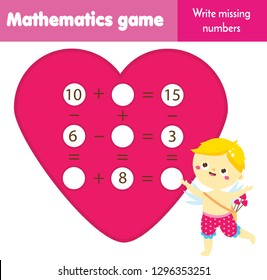 Math educational game for children. Write missing numbers and complete equations. Study subtraction and addition. St Valentines day theme mathematics worksheet for kids
