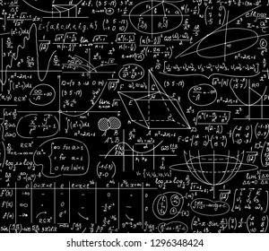 "Math educational vector seamless background with handwritten formulas, figures, calculations, ""chalk on blackboard"" effect"