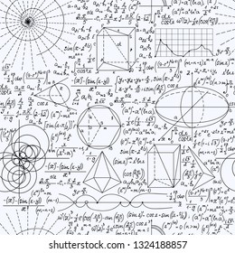 Math educational vector seamless background with handwritten formulas, figures, calculations