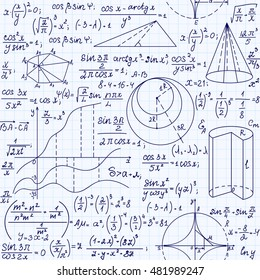 Math educational vector seamless pattern with handwritten formulas, figures and equations