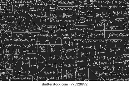 "Math educational vector seamless pattern with handwritten geometry figures, calculations and equations, ""handwritten with chalk on grey blackboard"" effect"