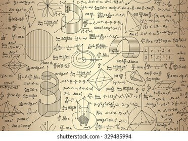 "Math endless texture with mathematical formulas and calculations, ""handwritten on the old paper"""