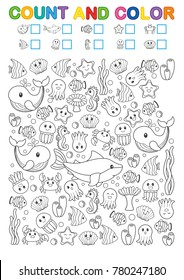 Math exercises for the study of numbers. Find, count and color. Printable worksheet for kindergarten and a preschool institution. Funny sea creatures: seahorse, shark, seaweed, corals, tropical fish