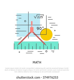 math flat and line vector concept illustration