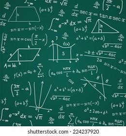 Math Formula Blackboard Calculation Vector Illustration Cartoon.