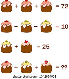 Math game for kids. Tasks with delicious cupcakes. Vector.