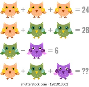 Math game for kids. Tasks with owls. Vector.