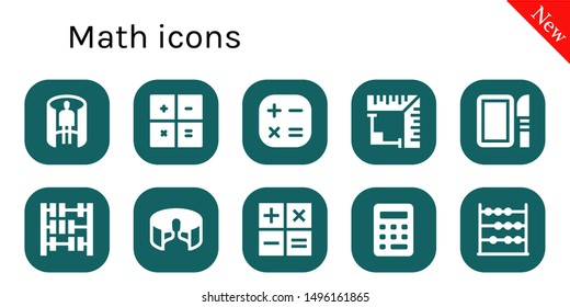 math icon set. 10 filled math icons.  Simple modern icons about  - panorama 360 , Calculator, Angle, Dissection, Abacus