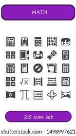math icon set. 25 filled math icons.  Simple modern icons about  - Calculator, panorama 360 , Abacus, Dissection, Stem, Protractor, Angle, Math, Panorama, Pi, 360