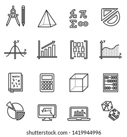 Math icon set with white background. Thin line style stock vector.