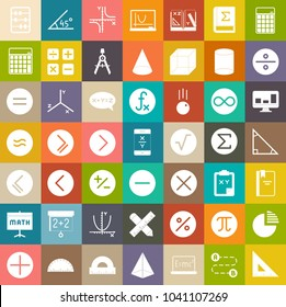Math icons, education sign symbols, school icons
