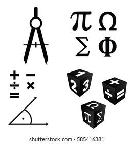 math icons set in black color art illustration