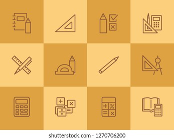 Math line icon set. Set of line icons on white background. Calculation concept. Calculator, pencil, protractor. Vector illustration can be used for topics like school, college, education