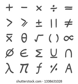 Math, mathematical Symbols hand drawn
