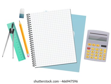 math notebook sheet paper background with ruler, pencil, eraser and calculator. vector