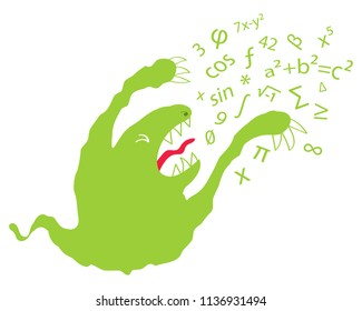 Math phobia, math anxiety, funny green Cartoon monster spewing numbers and greek letters isolated on white background