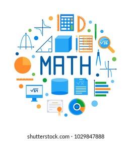 Math round flat vector modern illustration. Colorful mathematics symbol on white background