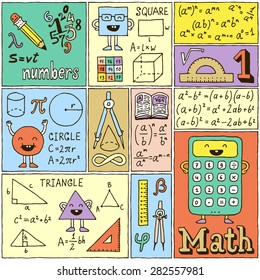 Math Science Banners set. Color Hand Drawn Vector Illustrations.