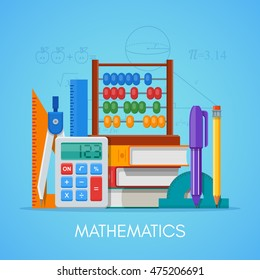 Math science education concept vector poster in flat style design.