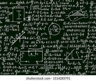 Math science vector seamless texture with mathematical formulas