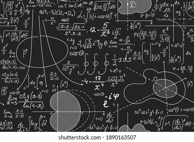Math scientific vector seamless background with equations, formulas and calculations