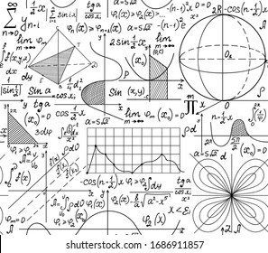 Math scientific vector seamless pattern with calculations, formulas and equations. You can use any color of background