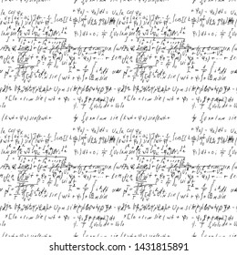 Math seamless board with handwritten mathematical and physics formulas and proves. Vector