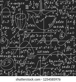Math seamless endless vector texture with handwritten mathematical formulas, geometry figures and equations