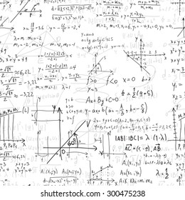Math seamless pattern with handwriting of various operations and step-by-step solutions. Geometry and mathematics subjects. College lectures.