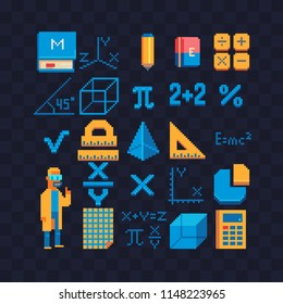 Math set pixel art icons. Mathematical formula. School stationery. Teacher male character. Measuring ruler, pencil, eraser, calculator isolated  vector illustration. 8-bit. Design stickers, logo, app.
