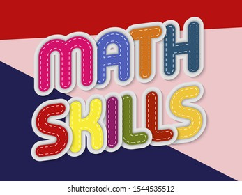math skills letters banner with border stitches