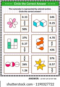 Math skills training visual puzzle or worksheet for schoolchildren and adults. Circle the correct answer. Find the number equivalent for each pictorial fraction representation. Answer included.
