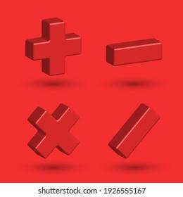 Math symbols 3d isometric shape, plus minus multiply divide mathematics signs for calculator.