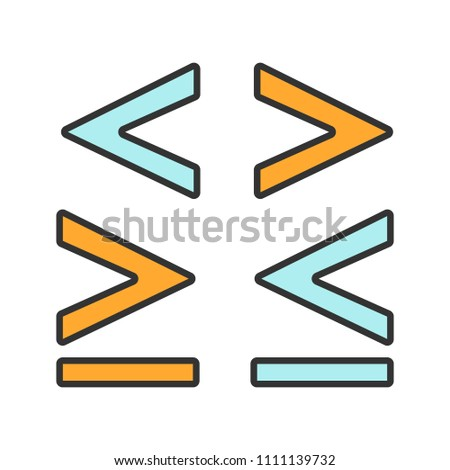 Math Symbols Color Icon Less Greater Stock Vector Royalty Free