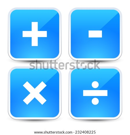 Math Symbols On Blue Backgrounds Addition Stock Vector Royalty Free