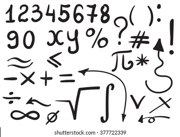 Math symbols for your design. Hand drawn vector set.