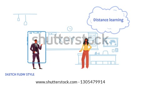Math Teacher Teaching Business Man Using Stock Vector (Royalty Free
