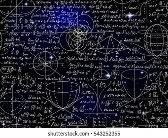 Math vector endless seamless pattern with formulas, figures and calculations handwritten on the starry space background. Scientific endless texture
