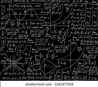 """Math vector seamless background with equations, formulas and geometrical figures, """"handwritten with chalk on blackboard"""""""