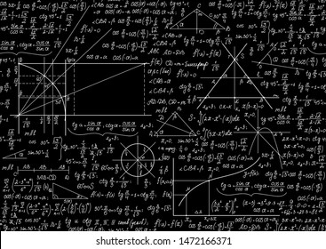 Math vector seamless background with formulas, calculations, figures, chalk writings on blackboard effect
