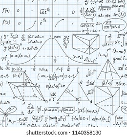 Math vector seamless endless texture with formulas, figures and equations, handwritten with pen on school grid copybook paper
