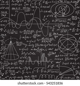 Math vector seamless endless texture with various formulas, calculation and mathematical figures, ''handwritten on grey blackboard with chalk'' effect. You can use any color of background