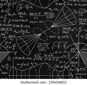 Math vector seamless pattern with formulas, calculations, figures, handwritten equations and tasks solutions, chalk writings on blackboard effect