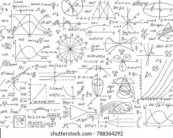 "Math vector seamless pattern with geometrical figures, plots and formulas, ""handwritten on a white copybook paper"". Endless scientific texture"