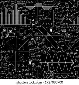 Math vector seamless pattern with handwritten algebra formulas, plots, calculations