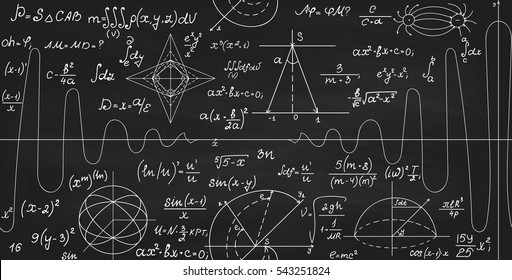 Math vector seamless texture with formulas, calculations, figures, plots and handwritten equations, chalk writings on grey blackboard effect