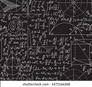 Math vector seamless texture with handwritten algebra and geometry formulas, functions and calculations