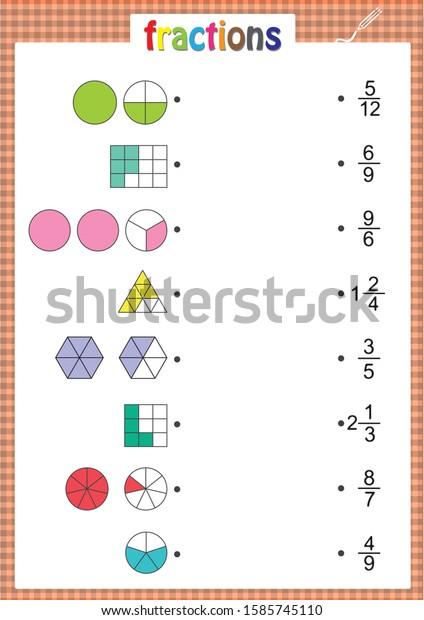 Math Worksheet Kids Fractions Activities Stock Vector (Royalty Free)  1585745110