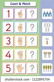 math worksheet for kindergarten kids, count and match