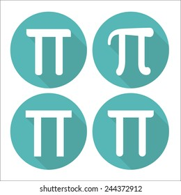 Mathematic Pi icon flat set
